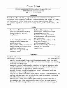 care tech solutions service desk analyst resume sle