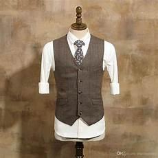 vintage hochzeitsanzug herren gro 223 handel 2019 vintage brown tweed weste wolle
