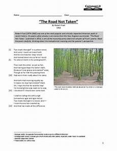 the road not taken worksheet for 7th 8th grade lesson planet