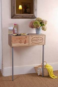 fabriquer une console en bois transformer des caisses 224 vin en console interiors