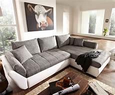 Sofa Grau Weiß - ecksofa loana 275x185 weiss grau schlaffunktion variabel
