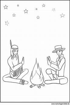 Indianer Als Malvorlage Malvorlage Indianer Und Cowboy Am Lagerfeuer