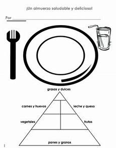 healthy meal food pyramid worksheet almuerzo