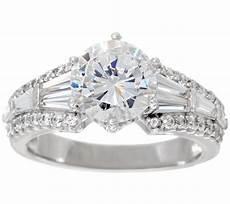 diamonique baguette bridal ring platinum clad page 1 qvc com