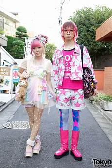 kumamiki junnyan s super colorful harajuku street style pink hair