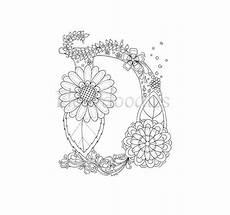 coloring page floral letters alphabet d
