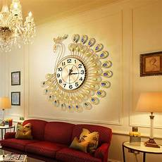clocks home decor gold peacock large wall clock metal living room