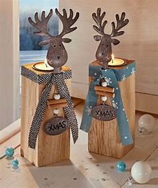 weihnachtsdeko holz basteln teelichthalter kerzenst 228 nder kerzenhalter elch holz