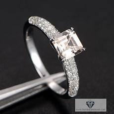 asscher cut morganite pave engagement ring