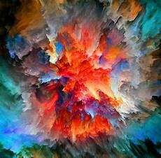 Warna Warni Cat Air Abstrak Lukisan Landscape