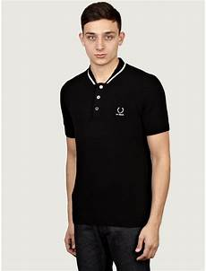 fred perry by raf simons mens black knitted polo shirt in