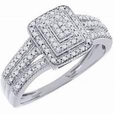 diamond engagement wedding ring 10k white gold pave