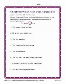 which noun does it describe printable adjectives activity