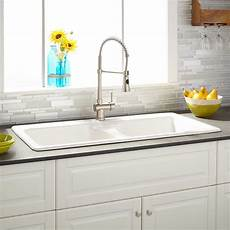 43 quot selkirk white double bowl cast iron drop in kitchen
