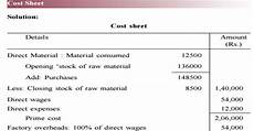 what is meant by cost sheet explain the importance of cost sheet with format