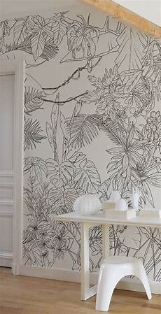 ohmywall papier peint jungle tropical en noir et blanc