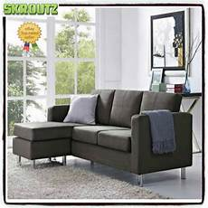 Gray Sectional Sofa Microfiber Chaise Lounge Living Room