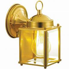 hton bay 1 light polished brass outdoor wall lantern bpm1691m the home depot
