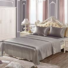 elegant bedspread solid bed cover bright smooth fitted sheet silver silky soft bed sheet
