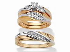cubic zirconia 3 piece his and hers two tone trio