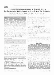 intestinal pseudo obstruction in patients with systemic lupus erythematosus a real diagnostic pdf intestinal pseudo obstruction in systemic lupus erythematosus a case report and review of