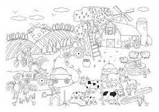 Ausmalbilder Thema Bauernhof Bauernhof Wimmelbild Wimmelbild Bauernhof Tiere