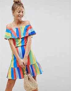 asos off shoulder sundress with tiered in rainbow stripe asos