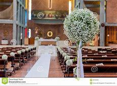 White flowers in church stock image. Image of bricks