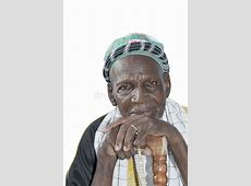 Old African Man Wearing Traditional Clothing, Isol Stock