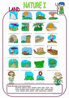 worksheets about nature 15097 nature elements land matching worksheet free esl printable worksheets made by teachers