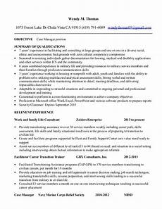 w resume case manager