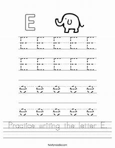 letter a e worksheets 24094 practice writing the letter e worksheet twisty noodle