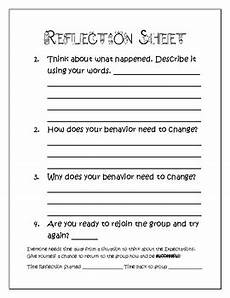 elementary behavior student reflection sheet tpt