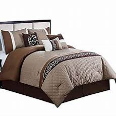 com ruhi coffee brown and beige king size luxury 7 piece comforter includes