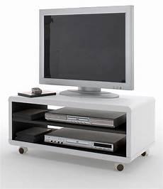 fernsehtisch mit rollen tv lowboard jeff in wei 223 und schwarz 79 cm