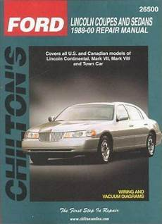 car manuals free online 1988 lincoln town car lane departure warning total car care repair manuals ser lincoln coupes and sedans 1988 00 by chilton automotive