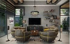 industrial living room in dubai on behance