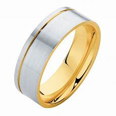 mens two tone yellow gold wedding ring mens two tone flat