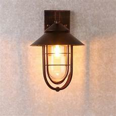 industrial 1 light metal cage clear glass shaded nautical indoor outdoor wall light in