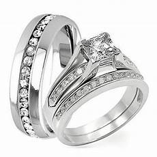3 pc his hers engagement wedding bridal band ring marquise diamond wedding ring sets