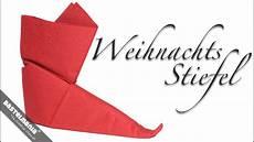 servietten falten anleitung stiefel weihnachten diy napkin