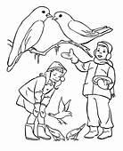 Two Kids Feeding Birds On Winter Coloring Page  Download