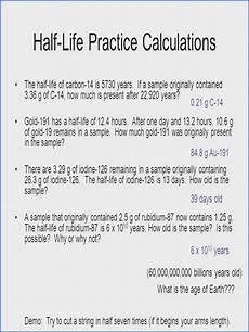 half life practice worksheet answers