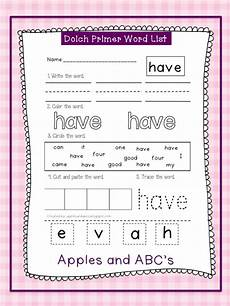 dolch primer sight word printables apples and abc s