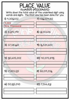 place value worksheet into the millions includes