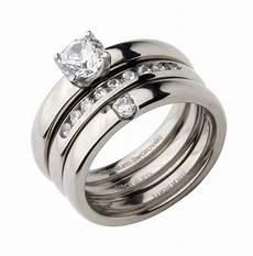 triple titanium bridal engagement eternity and cz