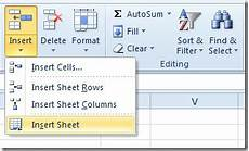 how to insert new sheet in excel 2010 workbook