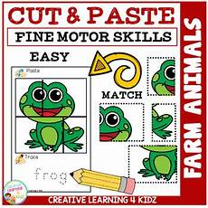 cut and paste motor skills worksheets 20651 cut and paste motor skills puzzle worksheets farm animals tpt