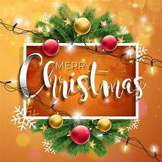 vector merry christmas illustration brown background with typography and holiday light