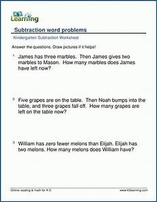 kindergarten subtraction word problem worksheets k5 learning